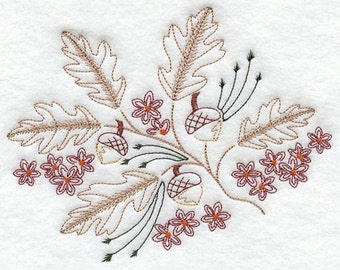 Autumn leaves and acorns Embroidered Flour sack towel pair Great Gift!