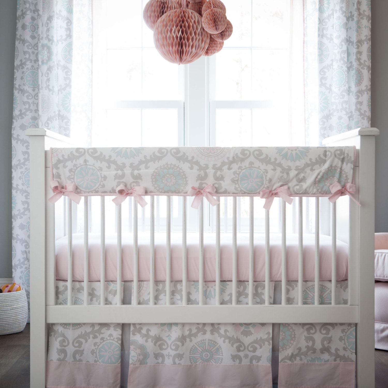 Girl Baby Crib Bedding Pink And Gray Rosa 3 Piece Crib