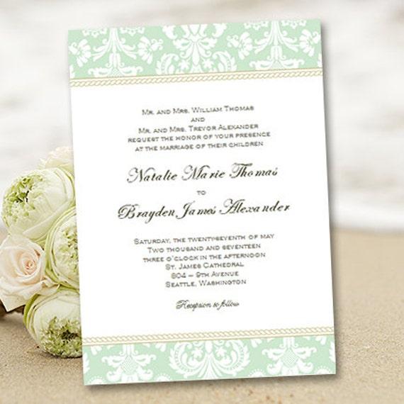 Printable wedding invitation template damask green for Damask wedding invitations template free