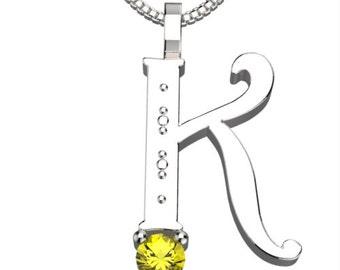 """BirthStone Letter K November Topaz 925 Solid Sterling Silver Pendant &18"""" Necklace"""