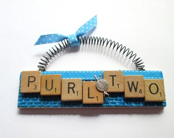 Knitting Purl Two Scrabble Tile Ornament