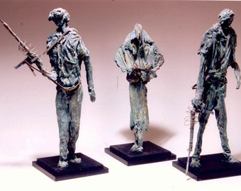 "The Guardians - Unique, One of a Kind, Award Winning Figurative Sculpture Cast in Bronze 38"" x 14"" x 13"""
