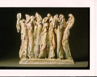 """Congregation - Unique, One of a Kind Figurative Abstract Sculpture using Plaster.  30"""" x 24"""" x 14"""""""