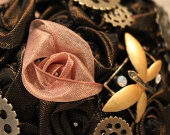 Steampunk Wedding Bouquet. Brown.