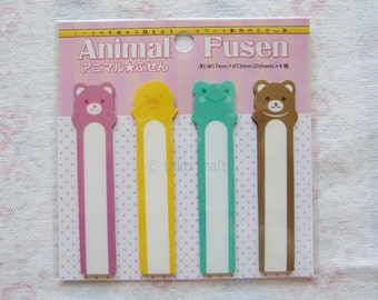 Cute Animal Fusen 2 Sticky Plastic Memo Bookmark Notes Post-it - 80 Sheets