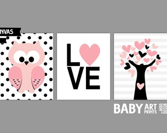 Baby Girl Nursery canvas art, Set of 3 8x10. Owl, Love, Tree pink black ( S810171 )