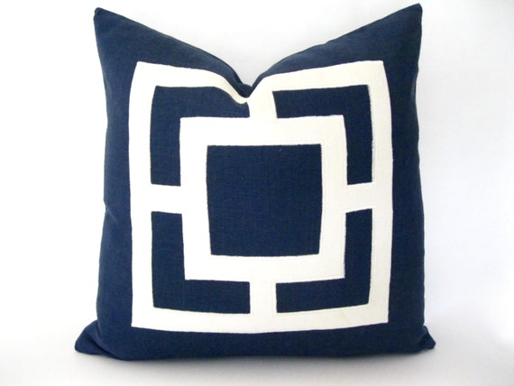 Navy Blue and White Pillow - Navy Linen Pillow Cover with White Velvet Applique