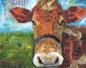 Cow art, Lori Siebert, Country Decor, Print, Mixed Media, Collage, Lori Seibert