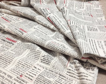 Cotton Fabric with English newspaper  43 x 35 inchs,110cm wide x 90cm long