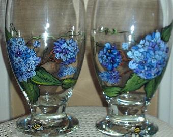 Hand Drawn & Painted Hydrangea Glass