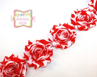 "SALE 2.5"" Red White Stripe Shabby Rose Trim #T002"