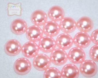 12mm Pink Flatback Half Pearls 50 Pieces