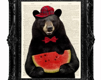Dictionary art print- Hungry Bear munching Watermelon-upcycled Dictionary Book Page Art Print  8x10 inch. Buy any 3 prints get 1 free!