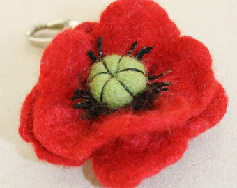 Merino Wool Needle Felted Keychain Bag Charm with Red Poppy Flower Key Ring  Valentines Mother's Day  Present Gift
