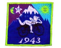 blue bicycle day blacklight lsd cult medium patch albert hofmann 1943 psychedelic hippie. Black Bedroom Furniture Sets. Home Design Ideas