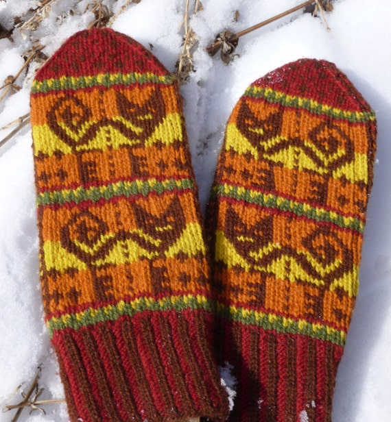 Items similar to Inca Cat mittens Digital Knitting Pattern PDF--fair isle str...