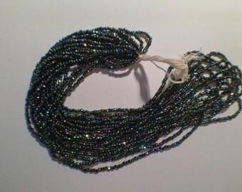 Vintage Seed Beads Tri-cut, Aurora Borealis, Iris, size 10 o, 1/2 hank for 4.50