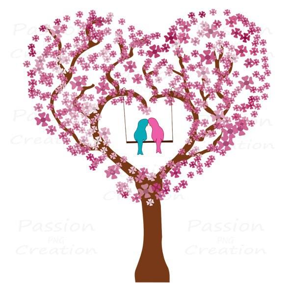Love tree Valentine's day digital clip art by ...