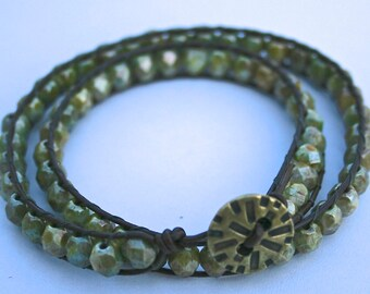 Two Wrap Muted Green Glass Bead Bracelet