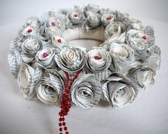 Marguerite, Vintage Book Paper Rosette Wreath, upcycled book decoration, paper flower, door wreath, recycled paper, wedding, Christmas