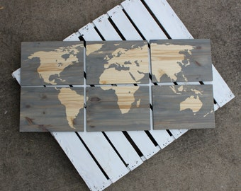 Wood Stain World Map in Gray