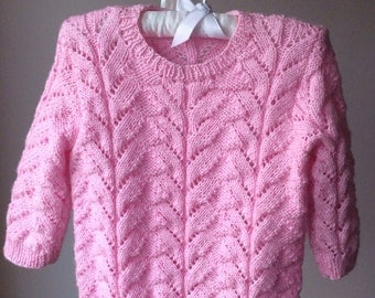Knit Toddler Sweater in Pink READY TO SHIP Size 24 months