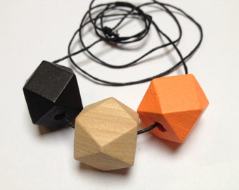 Trio- Sunkist 20mm Wooden Beaded Geometric Necklace