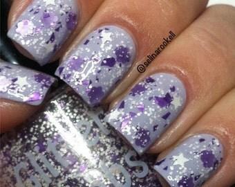 Bunny Snacks Nail Polish: Purple And White Glitter Topper Nail Polish Lacquer- Bunny Snacks Purple White Glitter Nail Polish-Glitter Lambs