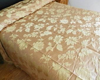 Vintage Bedspread, 1960s Bedspread, NOS Bedspread, Italian Silk Damask Bedspread, Champagne Bedspread, Mauve Bedspread, Full Bedspread