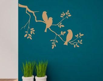 Birds sitting on Branch Vinyl Wall Decal, Birds Vinyl, Branch Wall Sticker, Birds Tree Vinyl, Wall Branches  (Interior & Exterior Available)