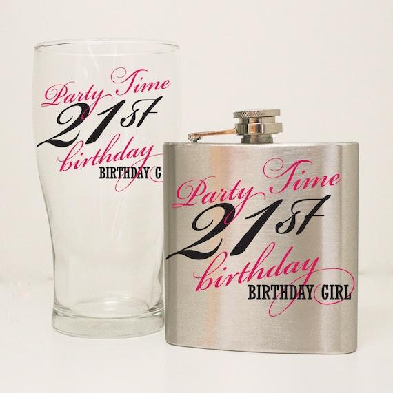 21st Birthday Flask Gift Set 21st Birthday Glass Girls