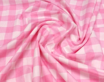 """Pink - 1 inch Check Winceyette Flannelette Fabric Soft Brushed Cotton -145cm (57"""") wide"""