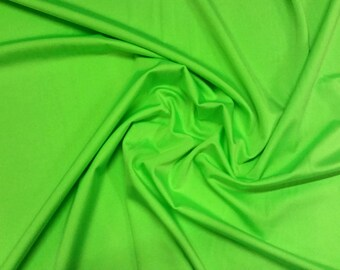 "Lime Green - Plain Lycra Spandex Stretch Fabric Material - 150cm (59"") wide per metre / half"