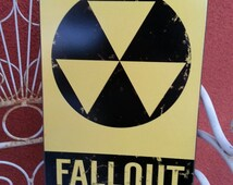 """Fallout Shelter  metal sign 8x14""""   colorful  wall decor black & yellow"""