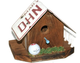 Rustic Bird House - Chestnut Birdhouse - Primitive Birdhouse - License Plate Birdhouse - Recycled Birdhouse - Fathers Day Gift