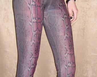 Snake Print Leggings  / Animal Print Leggings / Pink and Black Leggings, Sizes S, M, L