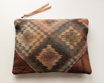 Repurposed Leather & Muted Geometric Print Clutch