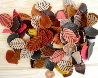 Leather charms, Assorted Leather Leaves, Jewelry supplies, Leaves charms, Assorted colors, Leather accessories, Flowers, Appliques, Scraps