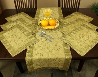 Hand Embroidered 7-Piece Placemat & Table Runner Set (Dark Gold)