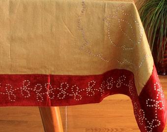 "Velvet Sparkle Rectangular Tablecloth (Gold, 52"" X 70"")"
