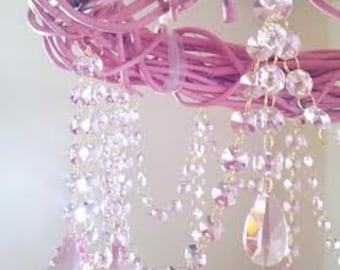 Pink Chandelier Shabby Chic Pink Grapevine Budoir Bedroom Cottage Style Farmhouse Faux Chandelier