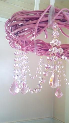 Pink Chandelier Shabby Chic Pink Grapevine by BellaCottageVintage