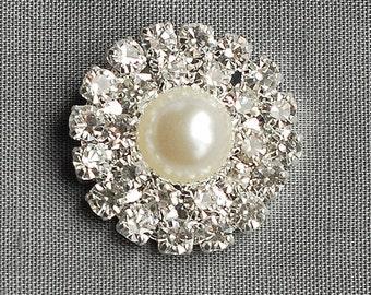 100 Rhinestone Buttons Crystal Pearl Button Wedding Invitation Brooch Bouquet Hair Comb Clip BT029