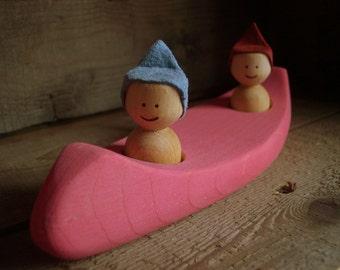 Pink wooden canoe, bath toy, wooden bath toy