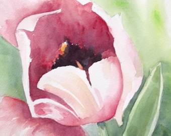 Pink Tulip Original Watercolor Painting