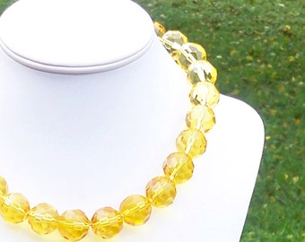 Yellow Necklace Yellow Bead Necklace Chunky Yellow Necklace Faceted Yellow Necklace 18mm Yellow Glass Necklace Large Yellow Necklace
