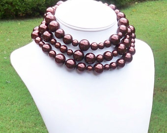 Bettie - Long Metallic Brown Beaded Chunky Pearl Necklace - Can Be WORN MULTIPLE WAYS