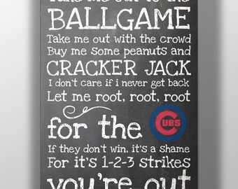 Chicago Cubs- Take Me Out to the Ballgame Chalkboard Print