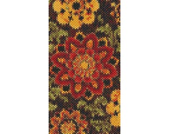 Red Tapestry Peyote Cuff Beaded Bracelet Pattern
