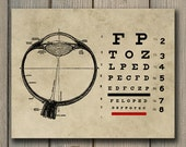 Vintage Ophthalmologist Eye Chart Print - Optometry Art - Eye Doctor INSTANT DOWNLOAD Wall Art - Optometrist Printable Poster